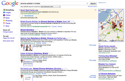 google local search divorce solicitor in bristol